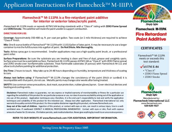 Flamecheck M-111PA Fire Retardant Paint Additive Application Instructions