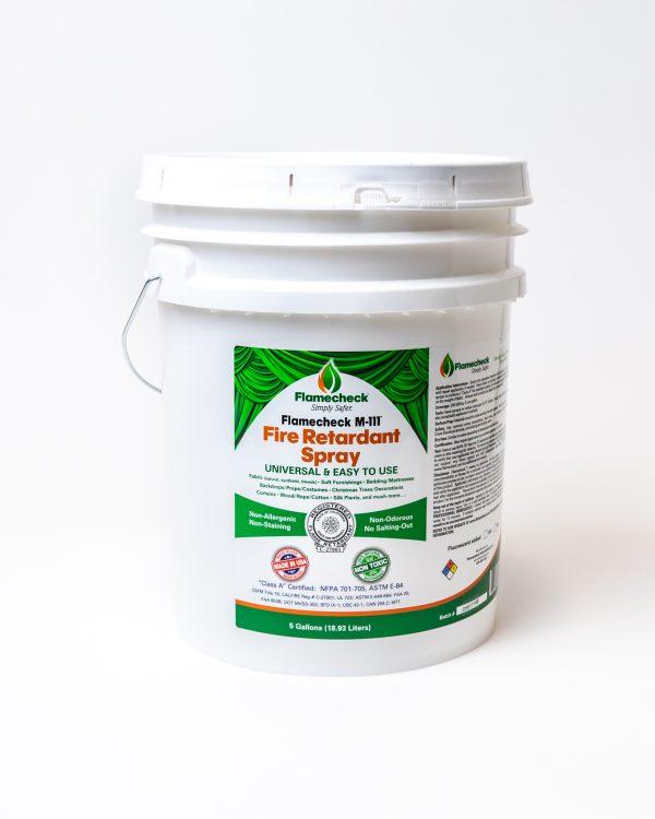 5 Gallon bucket of Flamecheck M-111 Fire Retardant Spray