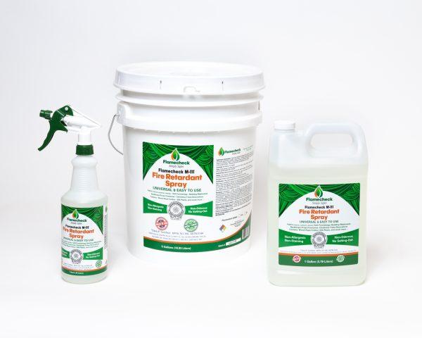 Quart, Gallon and 5 Gallon bucket of Flamecheck M-111 Fire Retardant Spray