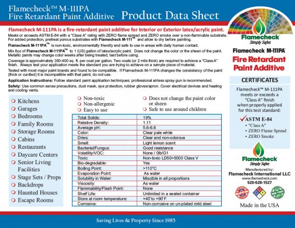 Flamecheck M-111PA Fire Retardant Paint Additive Product Data Sheet