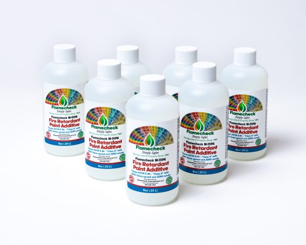6 pack - 8 oz bottles of Flamecheck M-111PA Fire Retardant Paint Additive