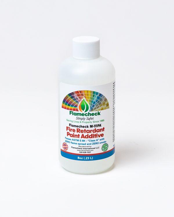 8oz bottle of Flamecheck M-111PA Fire Retardant Paint Additive