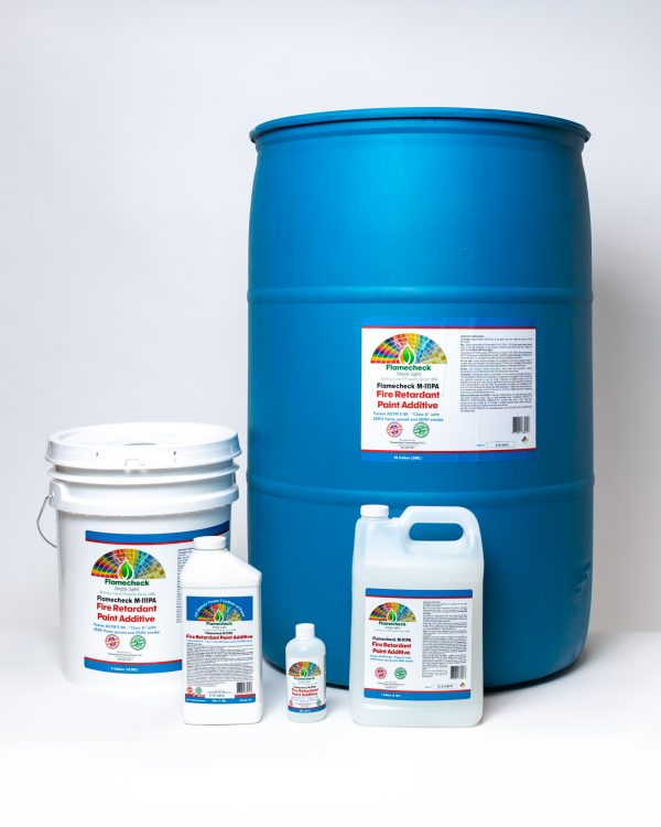 8oz, 40oz, 1 Gallon, 5 Gallon and 55 Gallons of Flamecheck M-111PA Fire Retardant Paint Additive